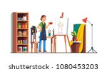art painter artist woman... | Shutterstock .eps vector #1080453203