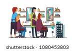 two women hairdresser work... | Shutterstock .eps vector #1080453803