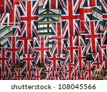 Union Jack flags in Covent garden in London UK - stock photo