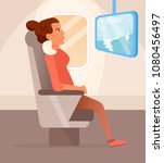 watching movie on the plane...   Shutterstock .eps vector #1080456497