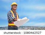 senior asian civil engineer... | Shutterstock . vector #1080462527