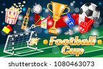 soccer ad poster  yellow and... | Shutterstock .eps vector #1080463073