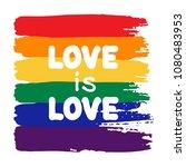 grunge rainbow flag with... | Shutterstock .eps vector #1080483953