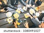 top view of friends drinking... | Shutterstock . vector #1080491027