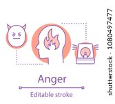 anger concept icon. stress idea ... | Shutterstock .eps vector #1080497477