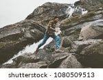running man in waterfall rocky... | Shutterstock . vector #1080509513