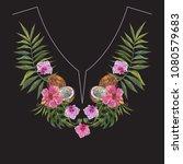 embroidery exotic neckline... | Shutterstock .eps vector #1080579683