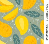 seamless pattern. mango juicy... | Shutterstock .eps vector #1080624437