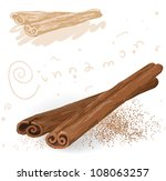 word spices. cinnamon. vector. | Shutterstock .eps vector #108063257