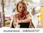 beautiful fair haired woman... | Shutterstock . vector #1080633737