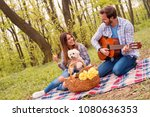 lovely young couple enjoying... | Shutterstock . vector #1080636353