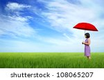young woman with red umbrella... | Shutterstock . vector #108065207