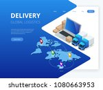 isometric logistics and... | Shutterstock .eps vector #1080663953