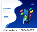 isometric online dating and...   Shutterstock .eps vector #1080664073