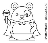 cute hamster with cloak and... | Shutterstock .eps vector #1080685673