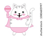cute cat with cloak and jingle... | Shutterstock .eps vector #1080685997