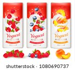 set of banners with berries and ... | Shutterstock .eps vector #1080690737