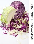 White and Red  Cabbage  on White Background - stock photo