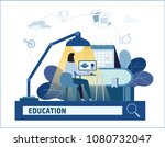 distance learning vector... | Shutterstock .eps vector #1080732047