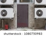 sidewalk by street wall   door | Shutterstock . vector #1080750983