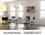 modern yellow kitchen interior... | Shutterstock . vector #1080802637