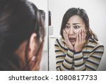 woman who is shocked by seeing... | Shutterstock . vector #1080817733