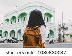 traveler backpacker use mobile... | Shutterstock . vector #1080830087