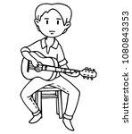 guitarist on a stool  linear...   Shutterstock .eps vector #1080843353