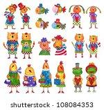 set of cartoon characters.... | Shutterstock . vector #108084353