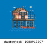 sea side landscape with red...   Shutterstock .eps vector #1080913307
