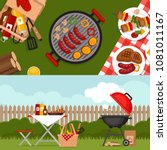 bbq party background with grill.... | Shutterstock .eps vector #1081011167