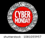 cyber monday word cloud collage ... | Shutterstock .eps vector #1081055957
