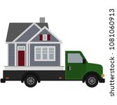 moving day house and truck... | Shutterstock .eps vector #1081060913