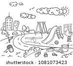 doodle monochrome children... | Shutterstock .eps vector #1081073423