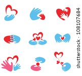 hands and heart set of vector symbols - stock vector