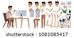 office worker vector. face... | Shutterstock .eps vector #1081085417