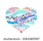heart with cute whale in... | Shutterstock . vector #1081085987