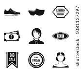 shopping district icons set.... | Shutterstock .eps vector #1081127297