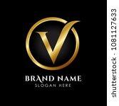 luxury letter v logo template... | Shutterstock .eps vector #1081127633