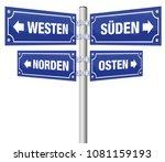 cardinal points signpost.... | Shutterstock .eps vector #1081159193