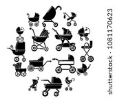 baby carriage icons set. simple ...   Shutterstock .eps vector #1081170623