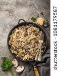 farfalle pasta with champignon... | Shutterstock . vector #1081179587