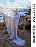 wedding table decoration on a... | Shutterstock . vector #1081192523