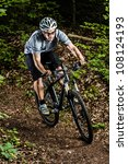 mountainbiker in a downhill | Shutterstock . vector #108124193