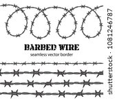 barbed wire seamless border.... | Shutterstock .eps vector #1081246787