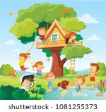 illustration with kids playing... | Shutterstock .eps vector #1081255373