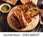 delicious barbecued ribs... | Shutterstock . vector #1081268237