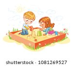 boy and girl are playing in the ... | Shutterstock .eps vector #1081269527