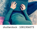 girls hands on laptop keyboard  ...   Shutterstock . vector #1081306073