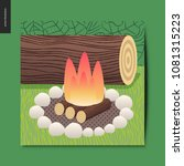 simple things   camp fire and... | Shutterstock .eps vector #1081315223